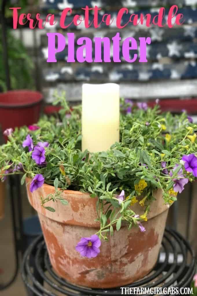 Beautify your backyard decor with this pretty Terra Cotta Candle Planter. This simple DIY candle planter will add some pretty ambiance to your patio. #containergardening #flowers #gardeningtips #planting #flowergarden #DIY #Crafts #gardening