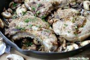 Maple Mustard Pork Chops With Braised Mushrooms