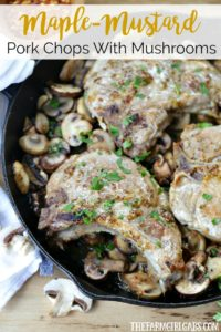 Be chef inspired at home with this easy and delicious Maple-Mustard Pork Chops With Braised Mushrooms recipe made with Smithfield Prime Fresh Pork. #AD #SmithfieldPrime