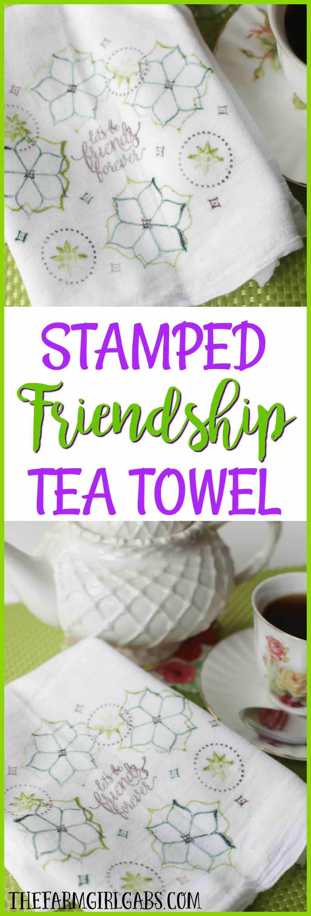 This easy DIY Stamped Friendship Tea Towel is the perfect gift from the heart. Make one to giveand make one to keep. Stampin! Up Eastern Beauty set is the star of this craft project.