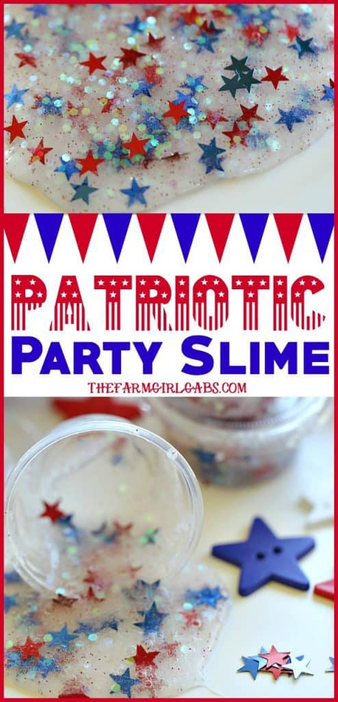 Looking for a fun craft idea to keep the kids busy at your July Fourth Celebration? This Patriotic Party Slime makes the perfect party favor. #slime #slimerecipe #craft #kidscraft #July4th