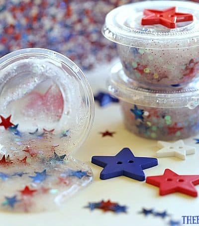 Looking for a fun craft idea to keep the kids busy at your July Fourth Celebration? This Patriotic Party Slime makes the perfect party favor.