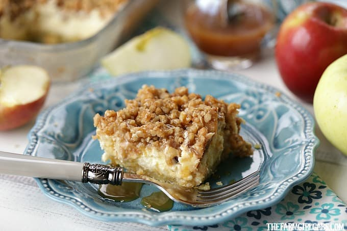 Apple season calls for the perfect fall recipe. These Apple Caramel Walnut Cheesecake Bars are a family favorite.