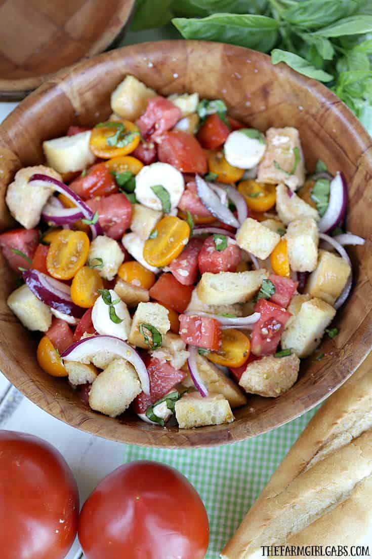 Tomato season call for a delicious Jersey Fresh Panzanella Salad. Ripe juicy tomatoes pair up with rustic french bread to create a delicious summer salad.