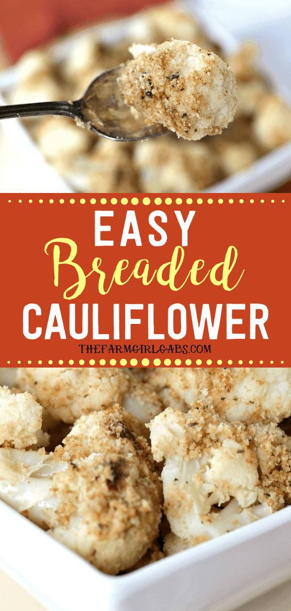 This Easy Breaded Cauliflower is the perfect side dish for any occasion. It's the perfect addition to your holiday menu. It's the one side dish that is always served at our Thanksgiving dinner. #Cauliflower #ThanksgivingRecipe #SideDish #Vegetable