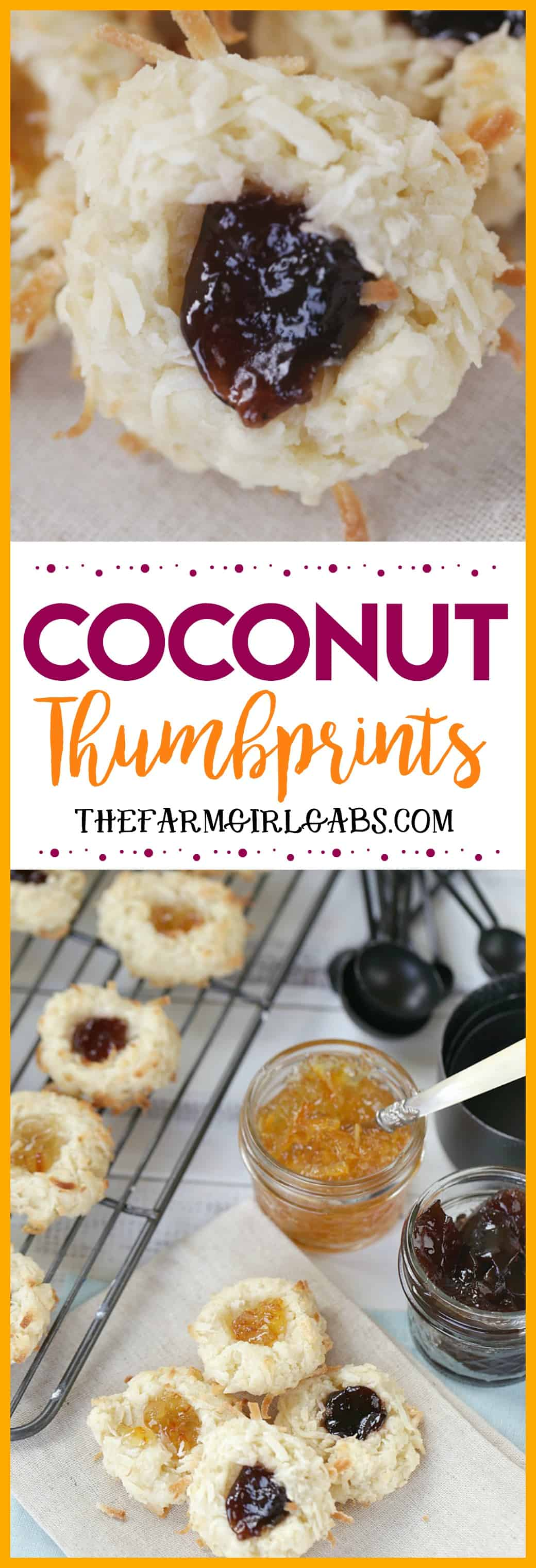 Soft and chewy, these Coconut Thumbprint Cookies are a great addition to your Christmas Cookie recipe routine. #Cookies #Baking #Recipe #ChristmasCookie