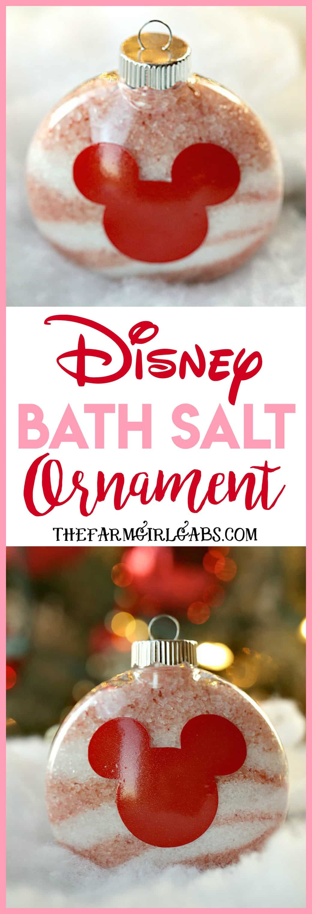 Give the gift of pampering the Christmas. These Disney Bath Salt Ornaments are the perfect self-care gift idea for the Disney fan on your gift list. #Christmas #Crafts #EssentialOils #Disney #DisneyCraft #WaltDisneyWorld #Ornaments #DIY