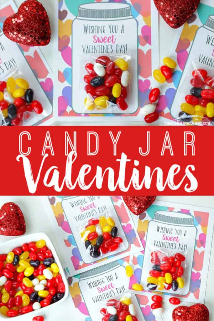 Your kids will have a sweet Valentine's Day making these adorable Sweet Candy Jar Valentines for their friends. #valentinesdaycard #kidscraft