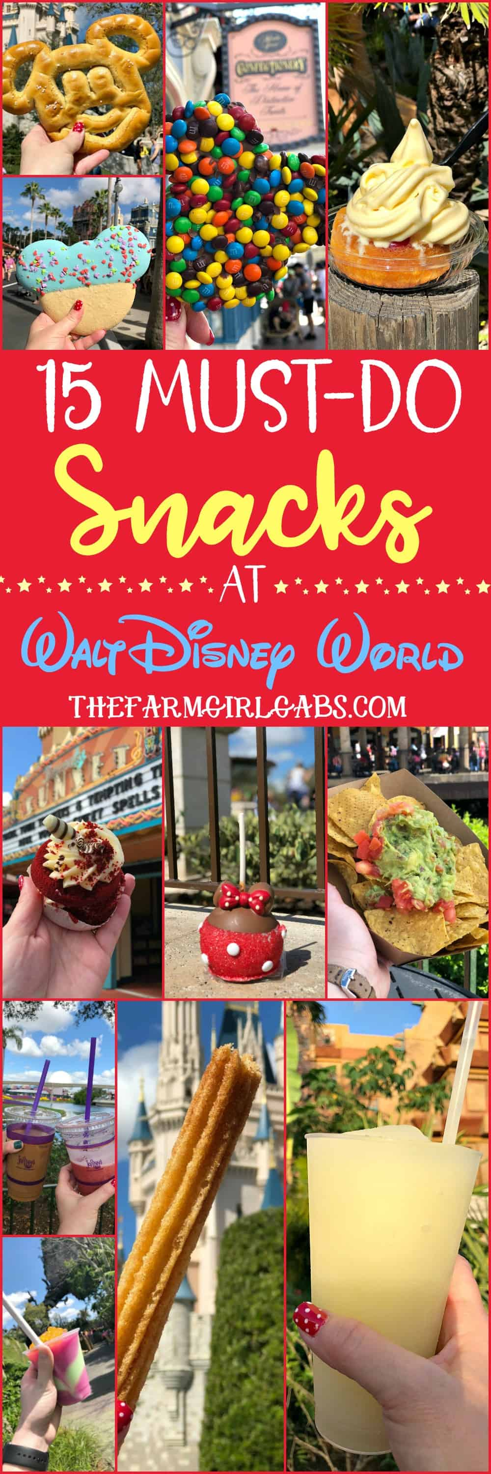 Eat your way around the happiest place on earth and try a few of these 15 Must Eat Snacks At Walt Disney World. Favorite Disney Snacks. #WaltDisneyWorld #DisneySMMC #Disney #DisneyFood #DisneySnacks