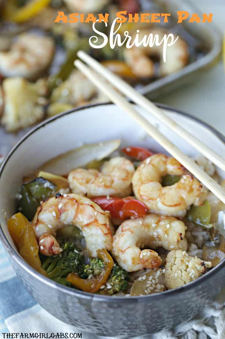 This quick and easy Asian Sheet Pan Shrimp dinner is perfect for Fish Fridays during the Lenten season. #wpseafood