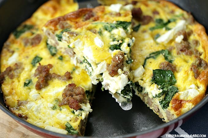 Serve this easy Hatfield Sausage, Spinach & Feta Frittata recipe for your Easter Brunch. #Ad #HatfieldEaster #breakfastrecipe #brunch