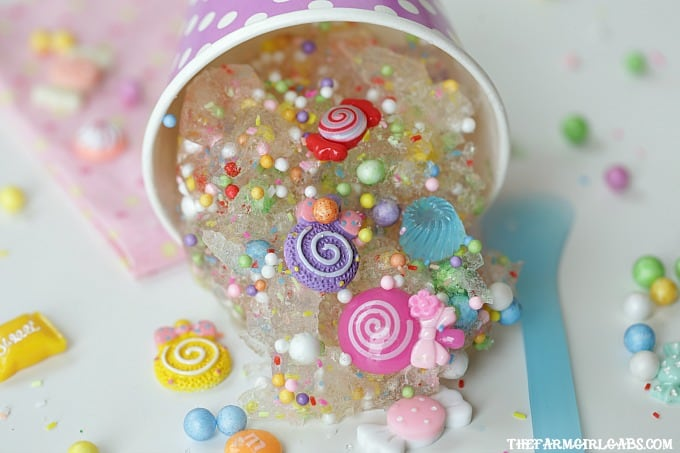 Kids will love creating some sticky fun with this Vanellope von Schweetz Sweet Shop Slime recipe.