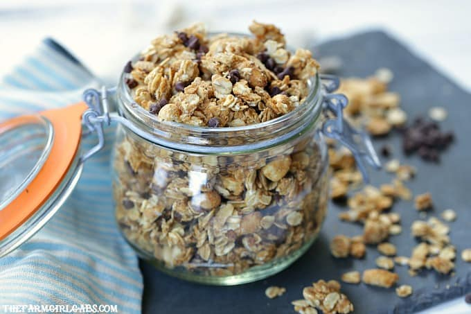 For breakfast or a quick snack, this easy Peanut Butter Chocolate Chip Granola recipe will have everyone begging for more!