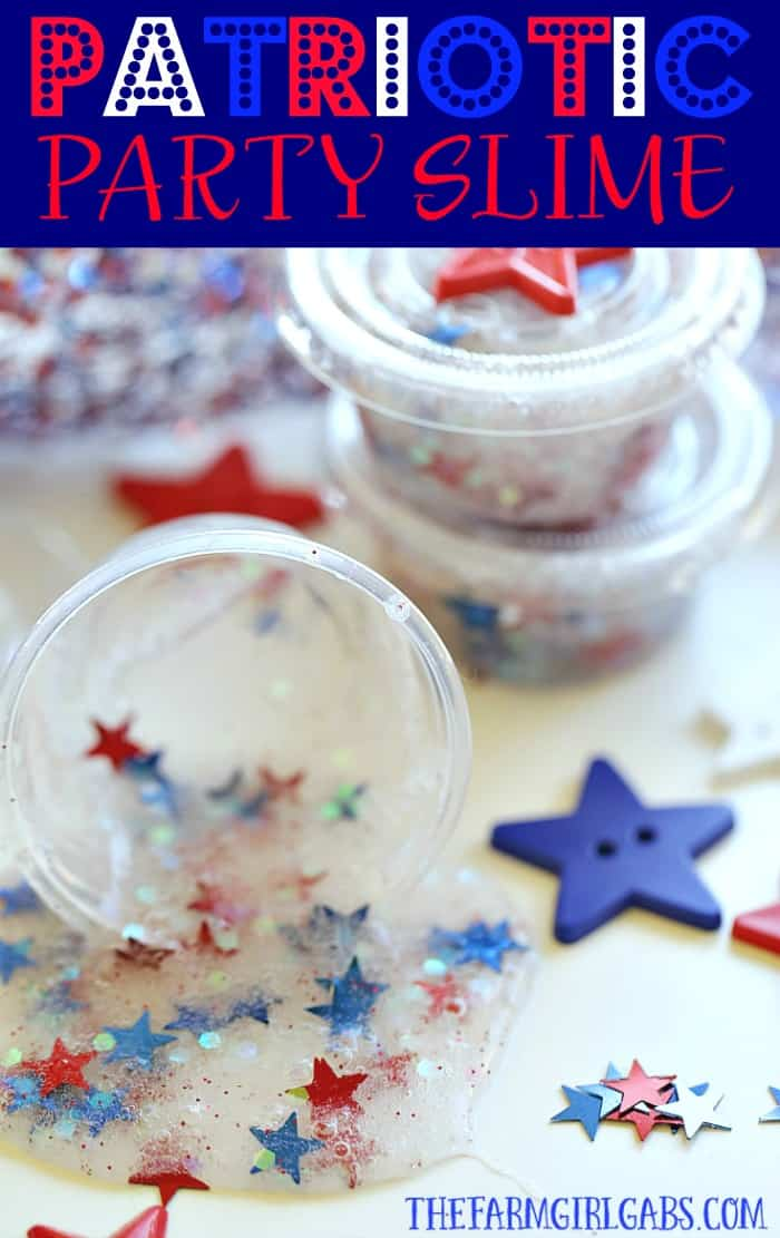 Looking for a fun craft idea to keep the kids busy at your July Fourth Celebration? This Patriotic Party Slime makes the perfect party favor. #slime #julyfourth #patrioticcrafts #slimerecipe
