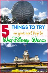 Five Things To Try on Your Next Trip to Walt Disney World. #WaltDisneyWorld #TravelTips #Disney #DisneyTips #FamilyTravel #DisneySide #Disneyland #DisneyTravel