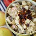 This Apple Cranberry Fruit Salad recipe is the perfect fall dessert. Apples, craisins and pecans pair up to create this delicious creamy fruit salad recipe. #fruitsalad #apple #applerecipe #fallrecipe #fallbaking #appledessert