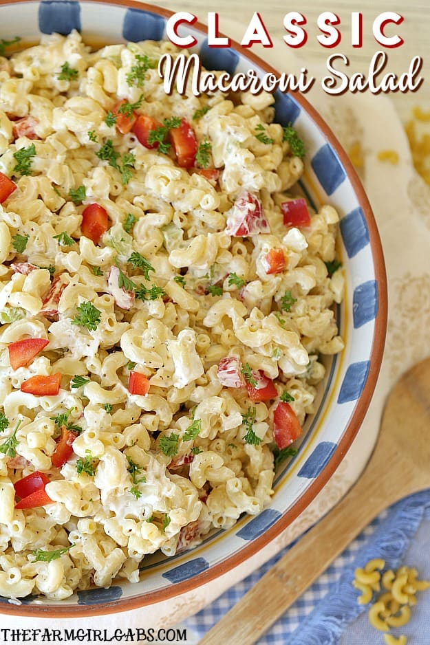 Every party needs a delicious macaroni salad. This Classic Macaroni Salad is the perfect side dish for game day,picnics or just as a side dish. #MacaroniSalad #Pasta #PicnicRecipe #PartyIdea