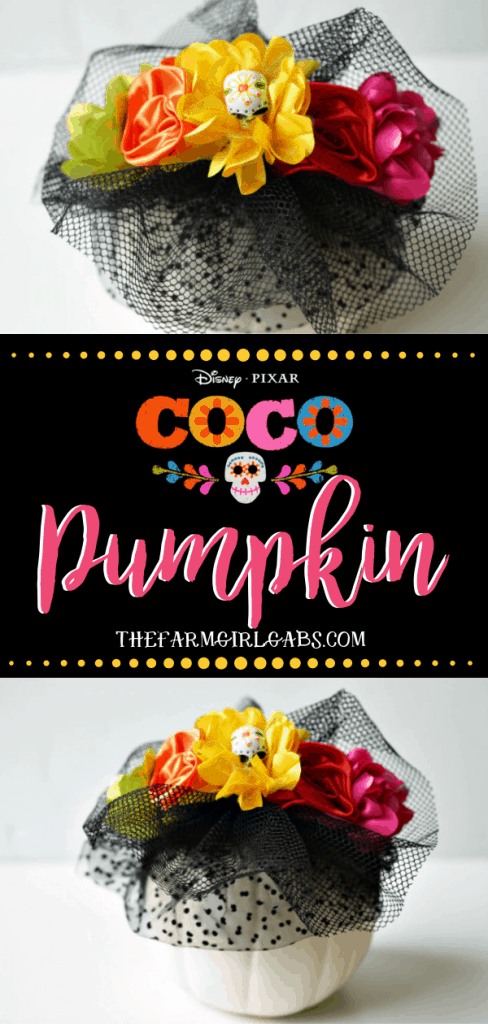 Halloween is the perfect time to celebrate the movie Coco with this easy DIY Sugar Skull Disney Pixar Coco Pumpkin. Make yourown to celebrate the Day of the Dead. #Halloween #Coco #DisneyCoco #Pumpkin #Pixar