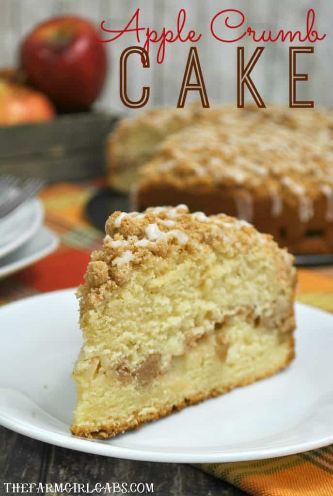Add this sweet and delicious Apple Crumb Cake to your fall baking plans. It's loaded with fresh apples and has an amazing crumb topping. #AppleCake #AppleRecipe #Cakes #DessertRecipe #FallBaking #Baking