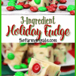 Tis the season for some sweet treats. This festive 3-Ingredient Holiday Fudge only takes a few ingredients and a few minutes to make and is so delicious! #FudgeRecipe #Fudge #Candy #ChristmasCookies #HolidayFudge #ChristmasRecipe #CandyRecipe #Christmascookieexchange #Christmascookierecipe #ChristmasCookies