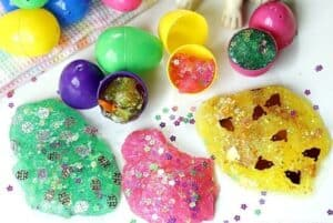 Hippity Hoppity, the kids will go crazy for these fun Easter Egg Glitter Slime! This easy slime craft will keep the kids busy for hours. This Easter Slime is a great party craft too. #slime #slimerecipe #EasterCraft #EasterSlimed