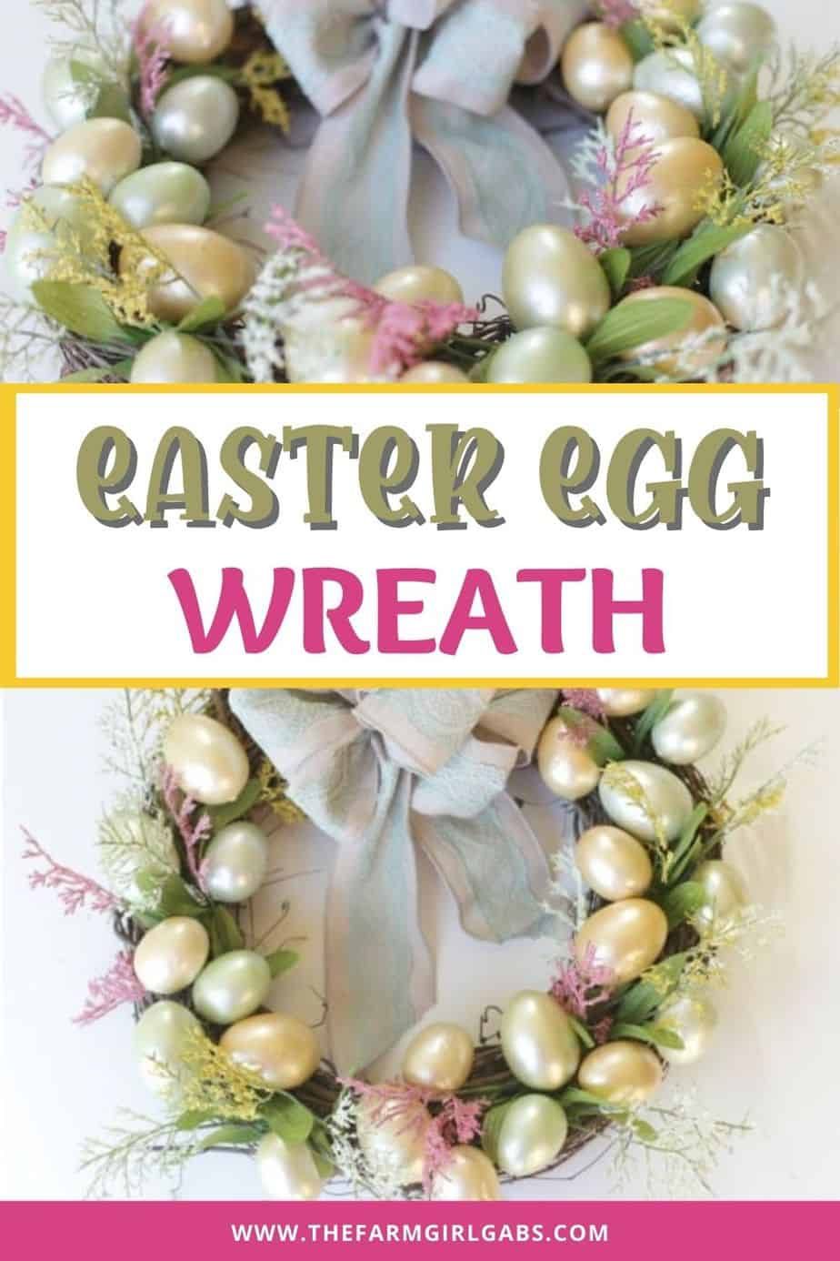 Brighten up your front door with this easy and welcoming DIY Spring Easter Egg Wreath. It's the perfect way to welcome spring. This easy spring craft does not take long to make. All it takes is some artificial easter eggs, a grapevine wreath and a few craft supplies. This tutorial will show you how to make your own wreath for your front door. This is an easy Easter wreath idea.