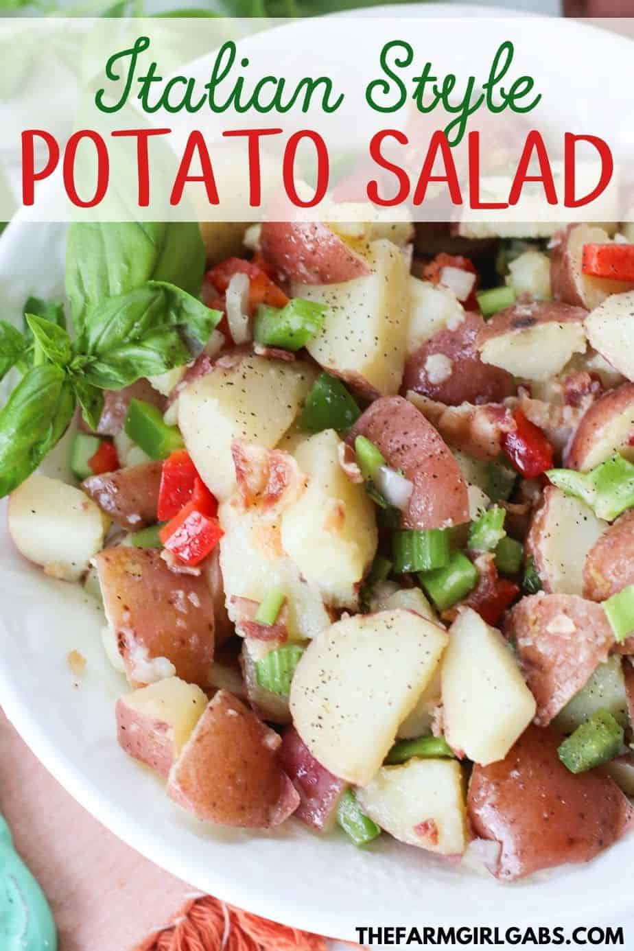 This flavorful Italian Potato salad is always a staple at any summer gathering I host. It's perfect for summer parties, potlucks or just as a simple side dish.....and it has bacon in it! Enough said!