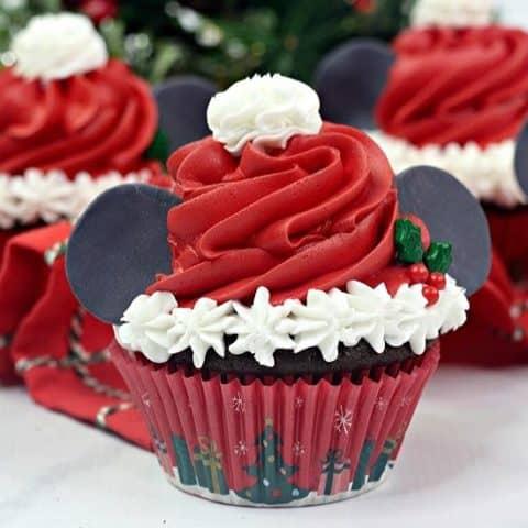 Mickey Mouse Santa Cupcakes