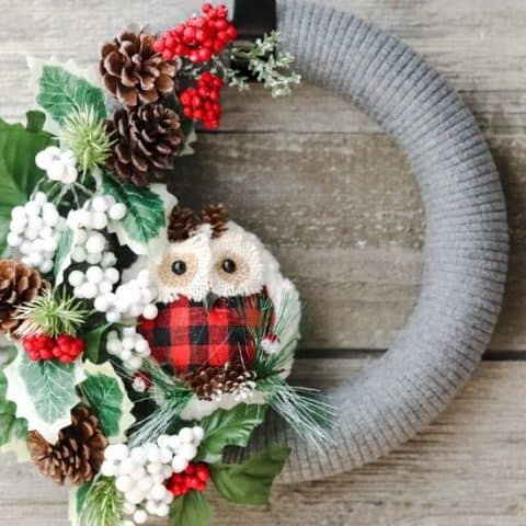 Woodland Owl Christmas Wreath