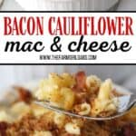 Ready for a twist on the classic mac and cheese recipe? Bacon Cauliflower Macaroni and Cheese is the ultimate comfort food. Creamy macaroni and cheese are mixed with flavorful bacon and farm fresh cauliflower.This twist on the classic macaroni and cheese is easy and delicious! #macaroniandcheese