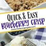 It's blueberry season! This easy blueberry crisp recipe it the perfect way to celebrate. This fruit crisp is a super simple summer dessert and perfect with a dollop of ice cream. This recipe is one of our favorite summer desserts. You family will love this quick and easy fruit crisp recipe. #blueberrycrisp #blueberryrecipe #summerdessert