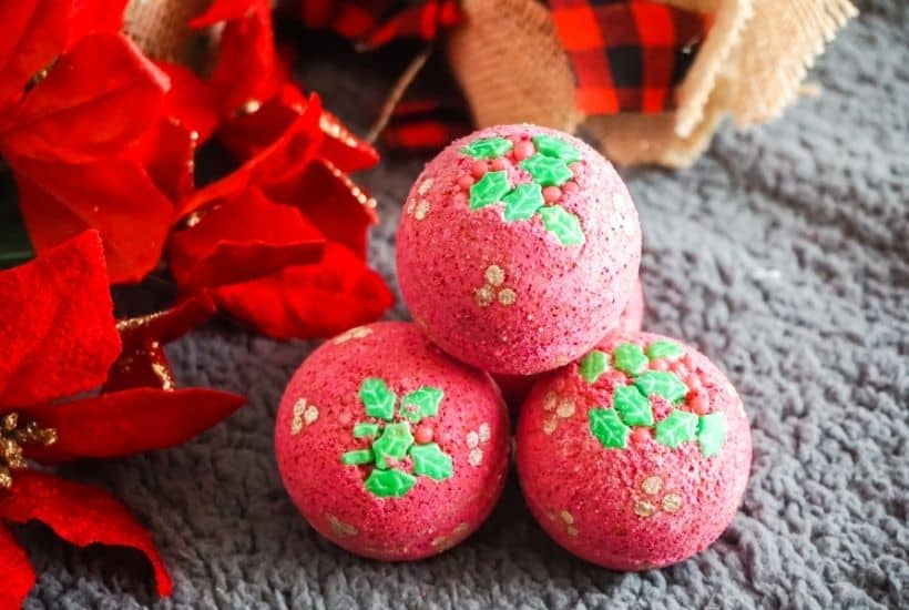 Give the gift of pampering this year. We all need it after this crazy year. These DIY Holly Bath Bombs are an easy DIY craft and perfect stocking stuffer idea.