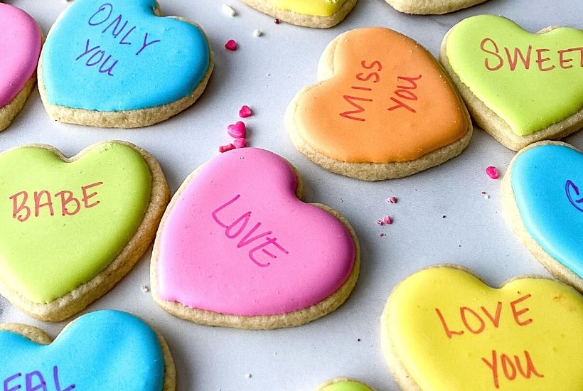 "Take your favorite conversation hearts Valentine candy and turn them into these fun Conversation Heart Sugar Cookies. This Valentine's Day Sugar Cookie recipe is ""rly sweet""."
