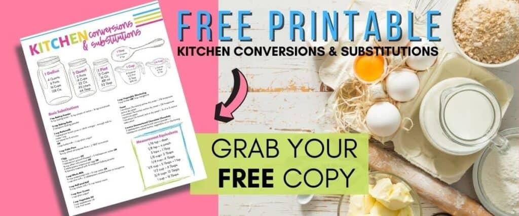 kitchen conversions sheet