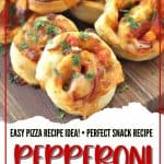 When you want to change up your normal pizza routine, try this easy Pepperoni Pizza Pinwheels recipe instead. They are a perfect snack or meal option. These pinwheels are a fun twist on a classic pizza recipe. This easy pizza recipe uses pizza dough, cheese and pepperoni. The pizza is rolled and sliced to make pinwheels. This is an easy snack recipe or great party idea.