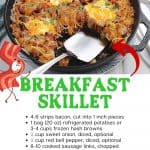 Have breakfast ready in a pinch with this Breakfast Skillet recipe. It combines classic breakfast favorites, including bacon, sausage, and eggs.