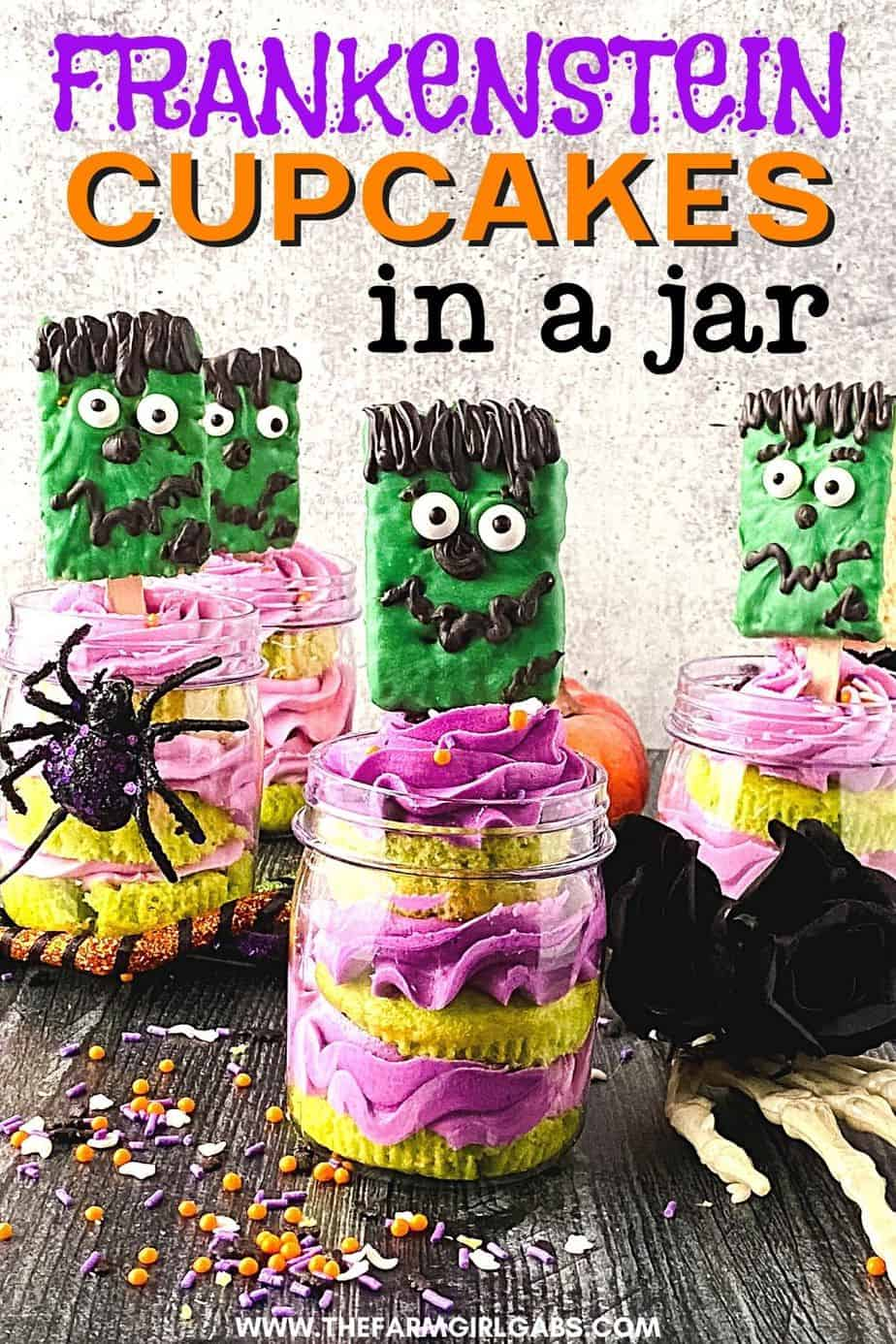 Cute and spooky, these easy Frankenstein Cupcakes In A Jar are perfect for a Halloween party. This kid-friendly Halloween recipe is made from doctored-up box cake mix and topped with a Frankenstein Rice Krispies treat.